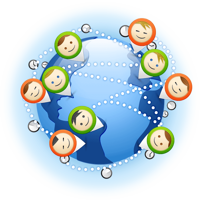 Virtual team members in over 9 different countries