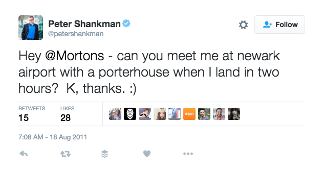 peter shankman tweet to mortons the steakhouse