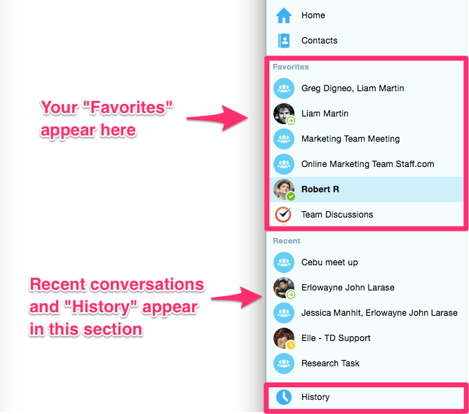 Favorites and Recent on Skype