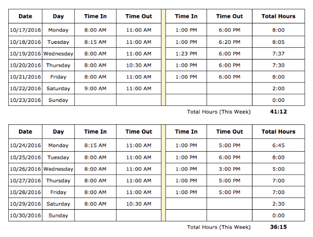 sample bi weekly timesheet