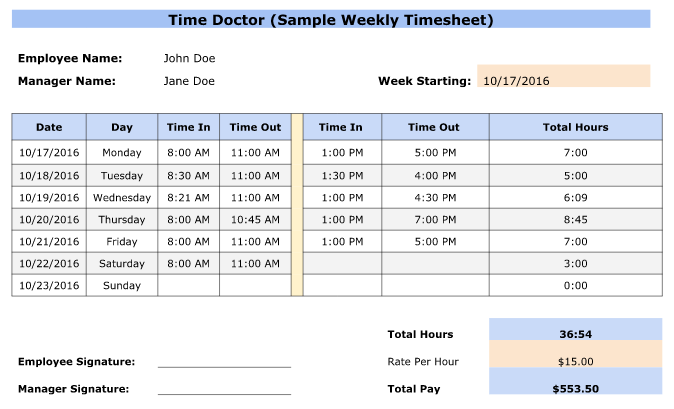 Amazing Weekly Timesheet Template