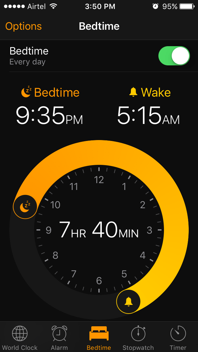 iPhone bedtime feature