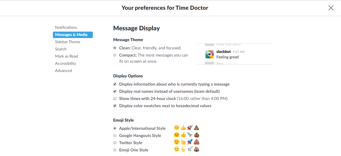 Messages and media preferences for Slack