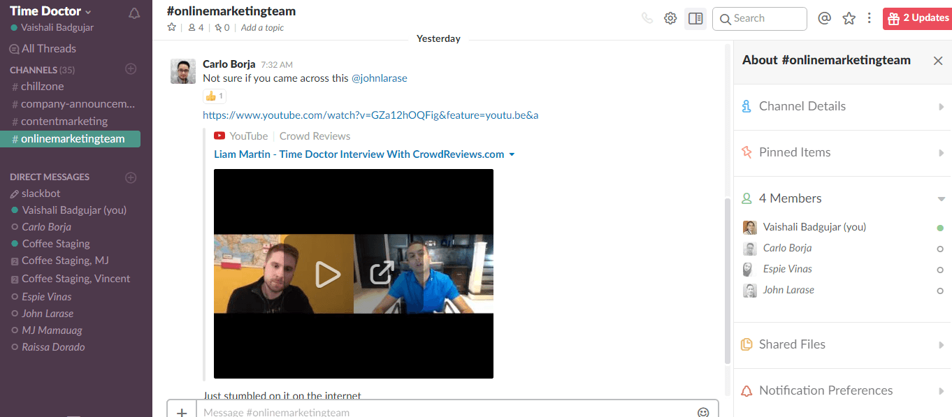 YouTube video on Slack