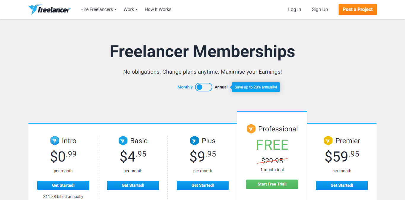 Freelancer.com memberships