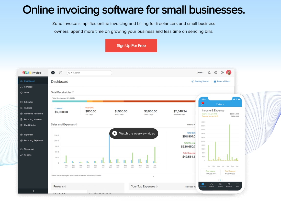 zoho invoicing software