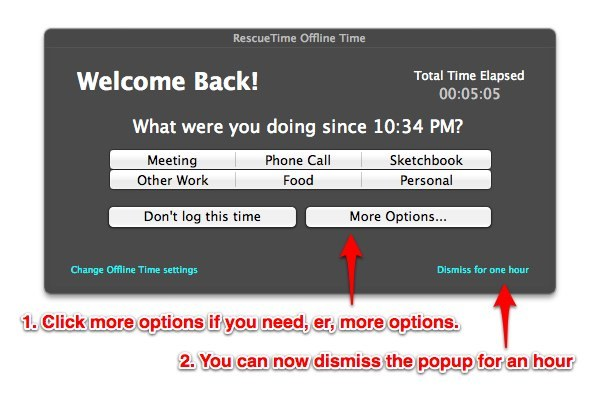 RescueTime offline time