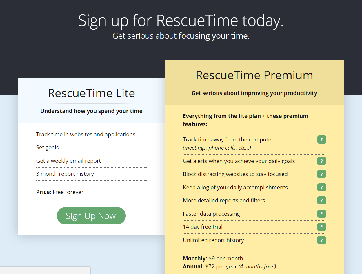 rescuetime signup