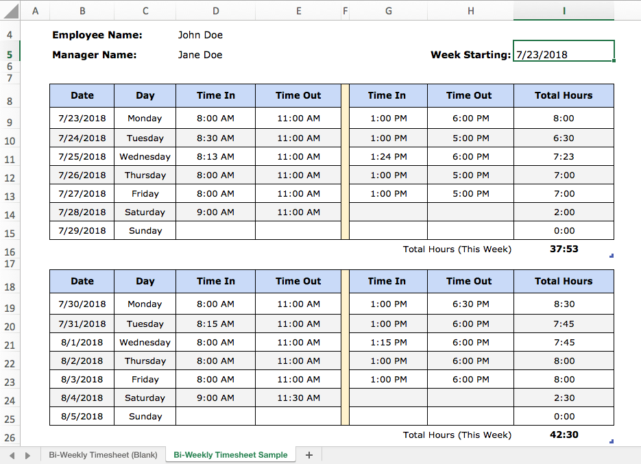 sample excel templates  how to keep track of work hours