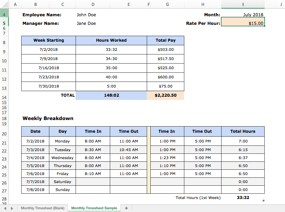 monthly timesheet excel