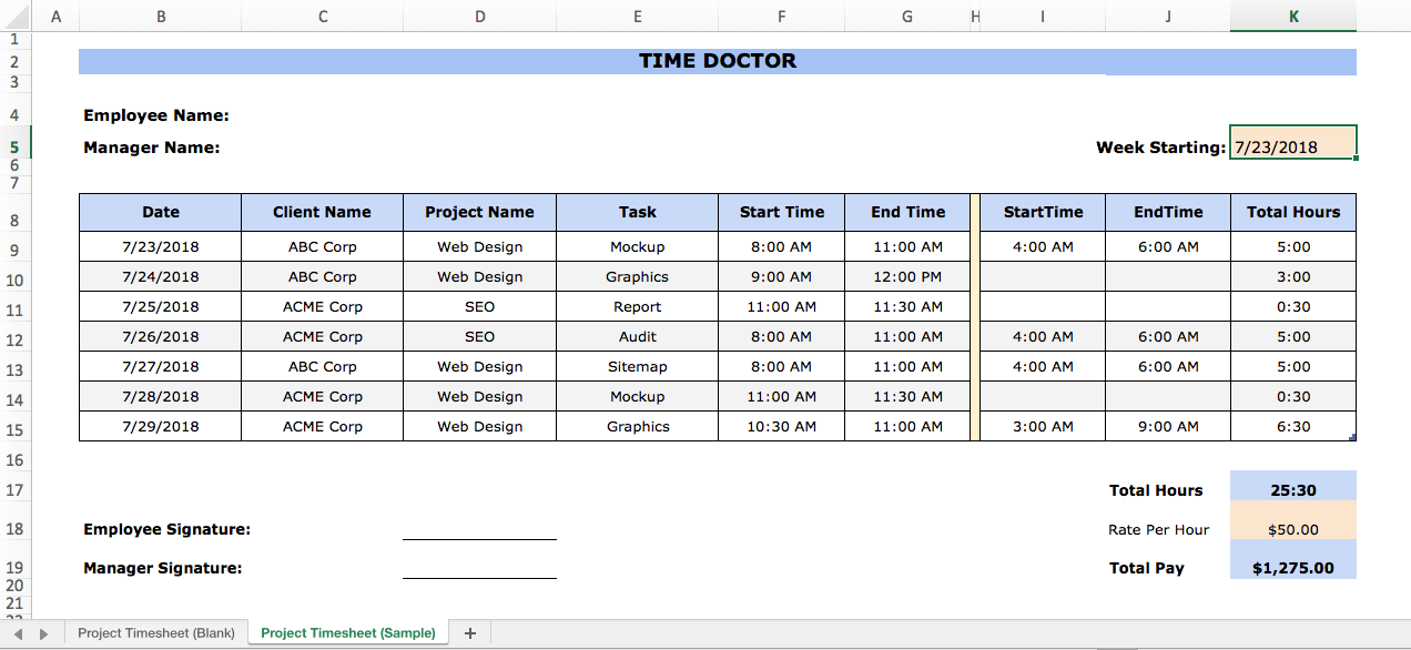 project timesheet excel