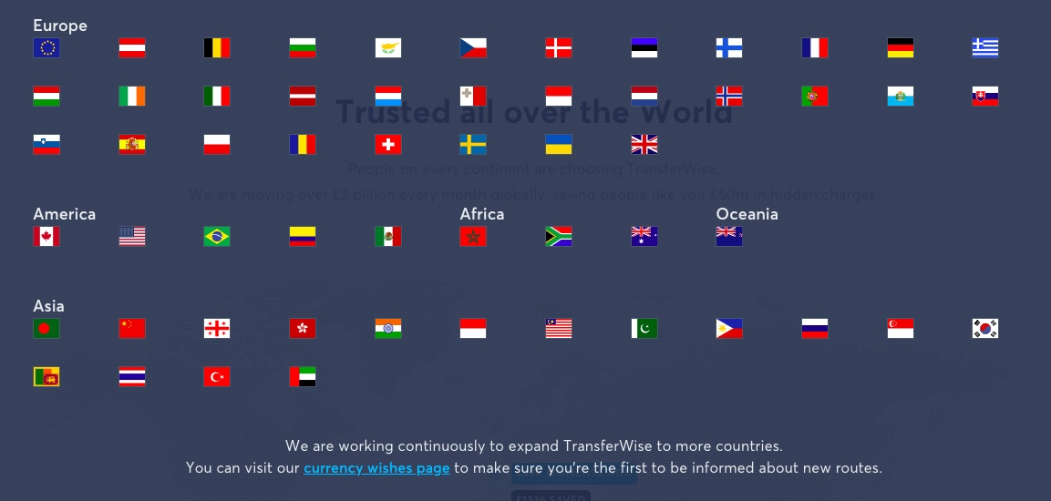 transferwise coverage