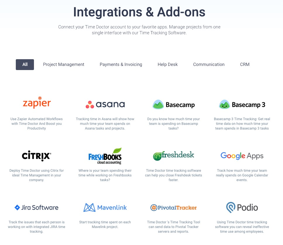 time doctor integrations and addons