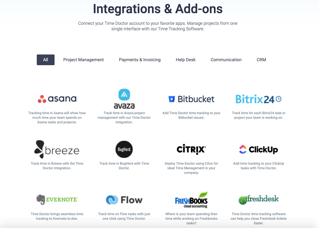 time doctor integrations