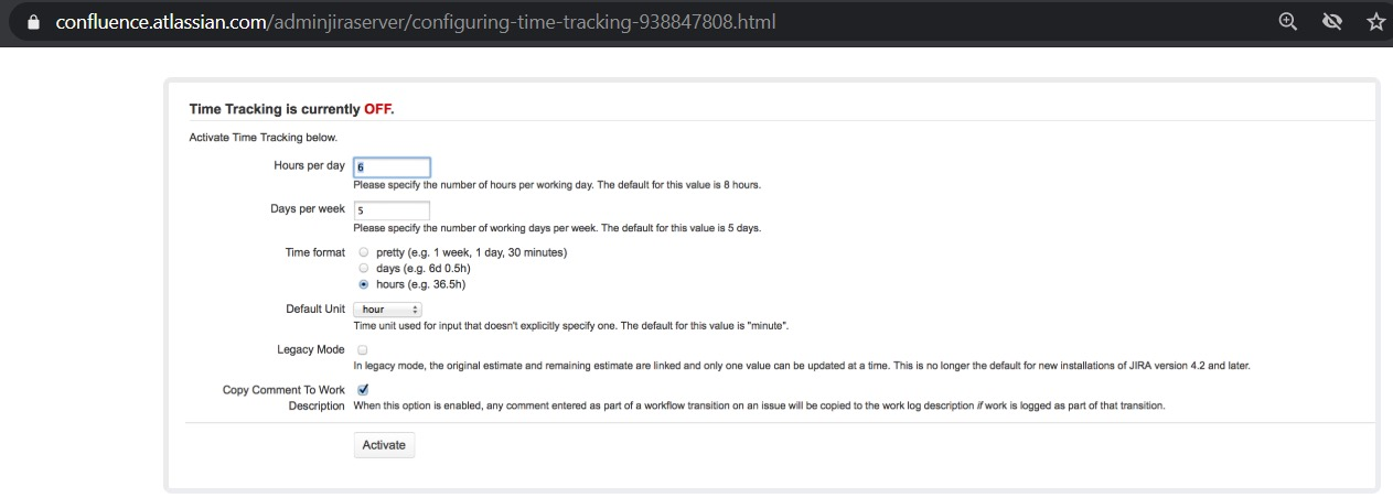 configuring time tracking in jira