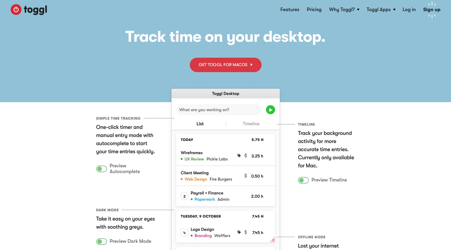 Toggl time tracking