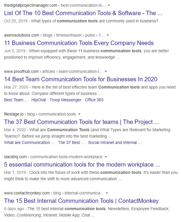 communication tools SERPs