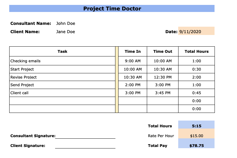 Free Consultant Timesheet Templates Excel Pdf Word