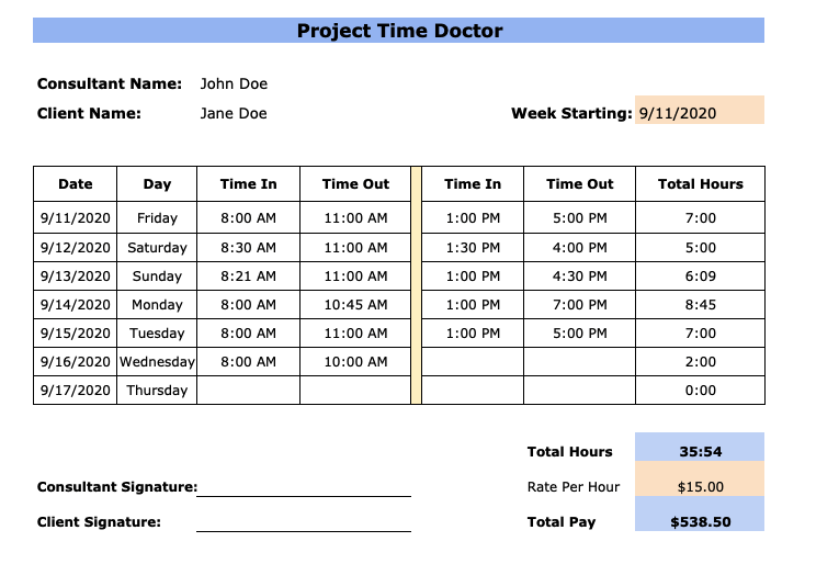 consultant weekly timesheet template
