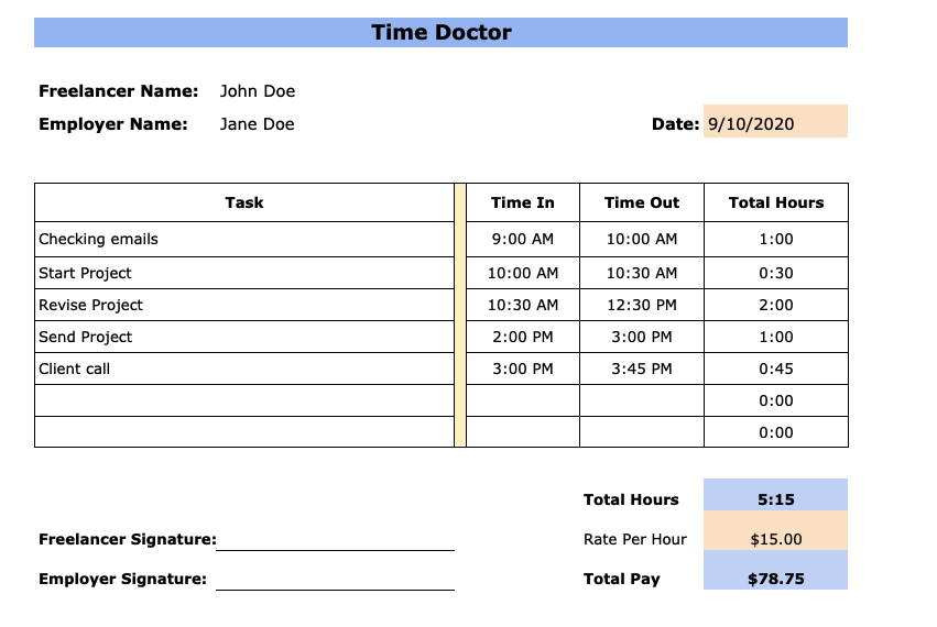 daily timesheet template for freelancers