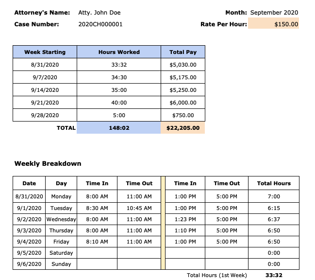 monthly attorney timesheet template