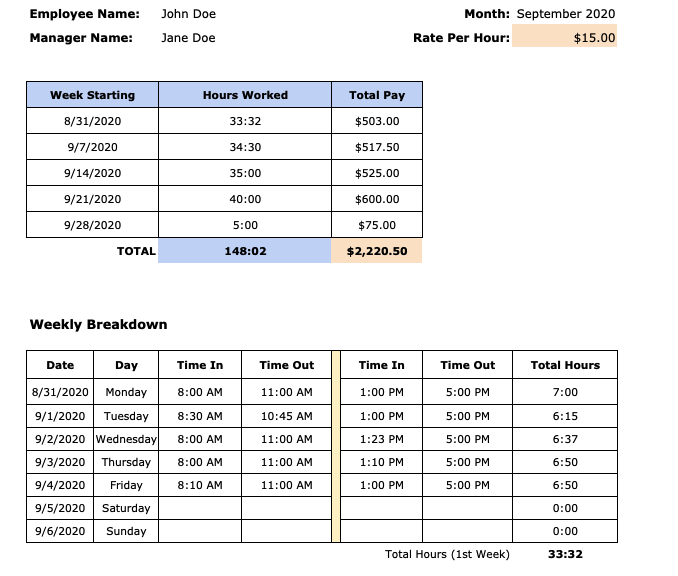monthly timesheet template for freelancers