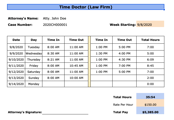 weekly attorney timesheet template