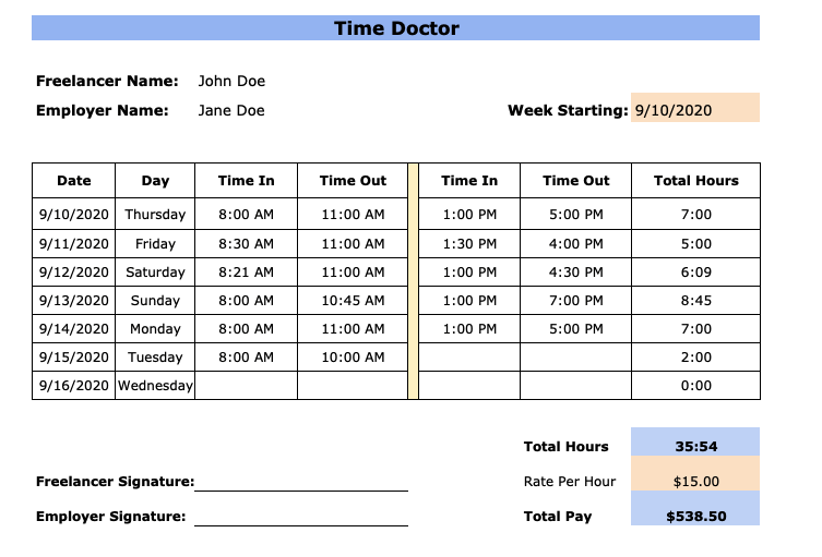 weekly timesheet template for freelancers