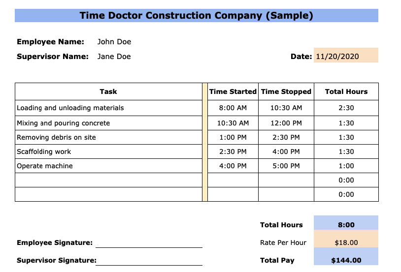 daily construction timesheet template
