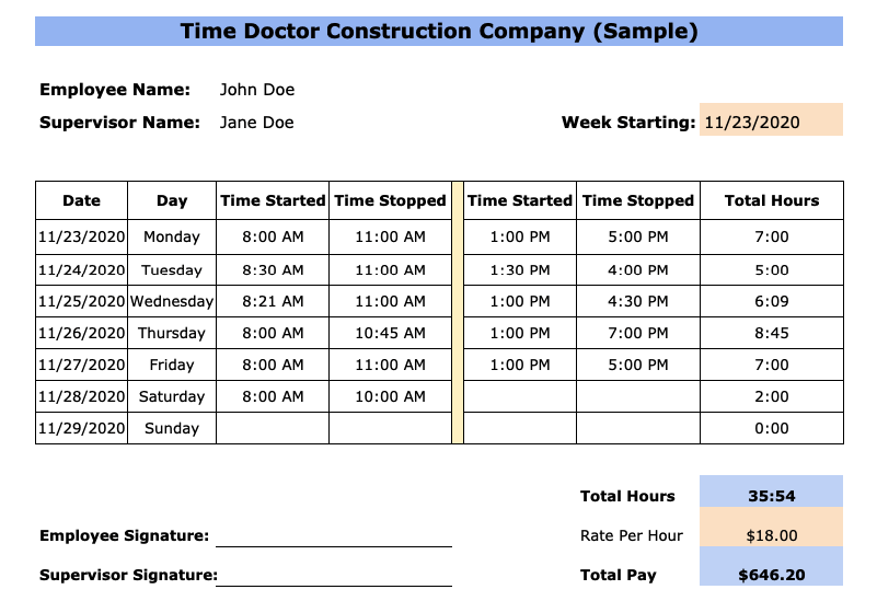 weekly construction timesheet template