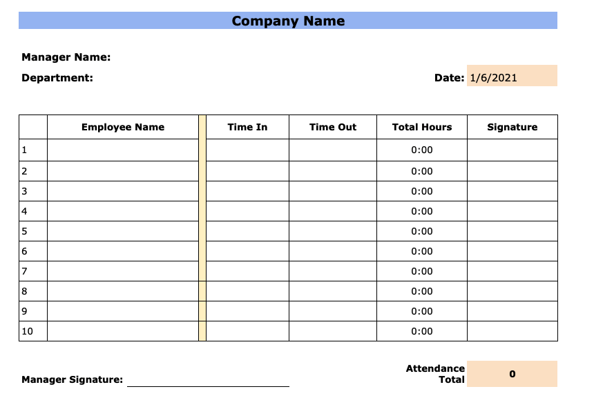 Free Employee Attendance Sheet Templates (Excel and PDF)