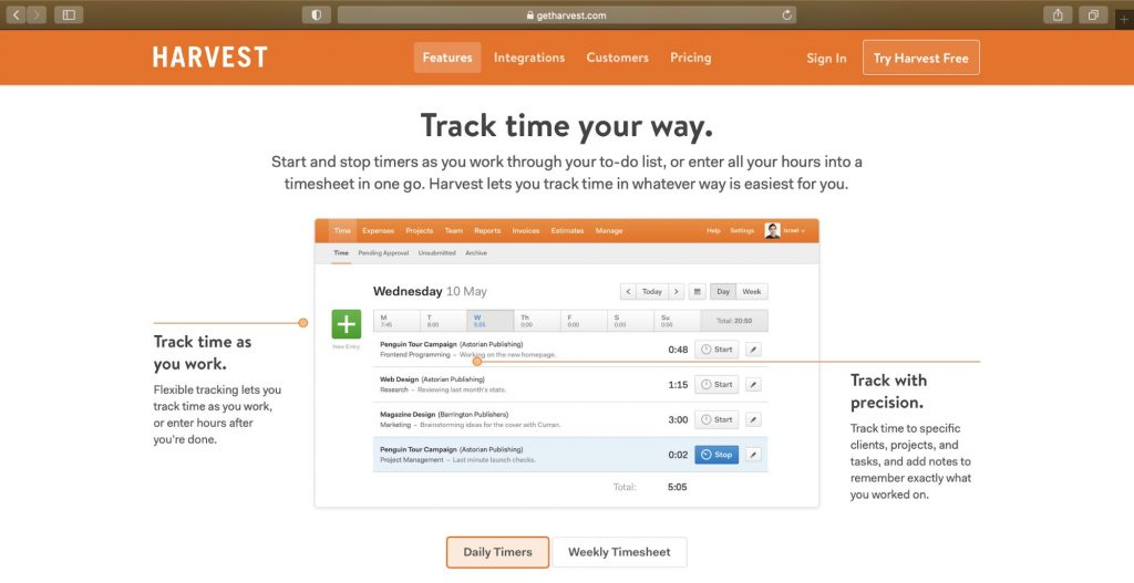 harvest time tracking feature