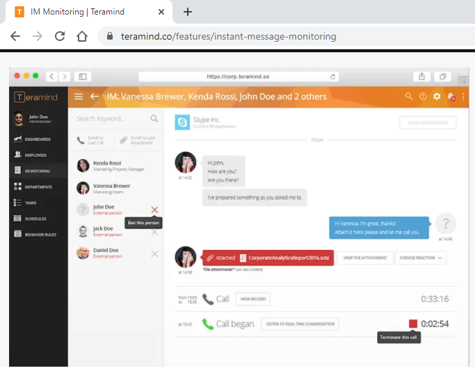 Teramind Instant message monitoring