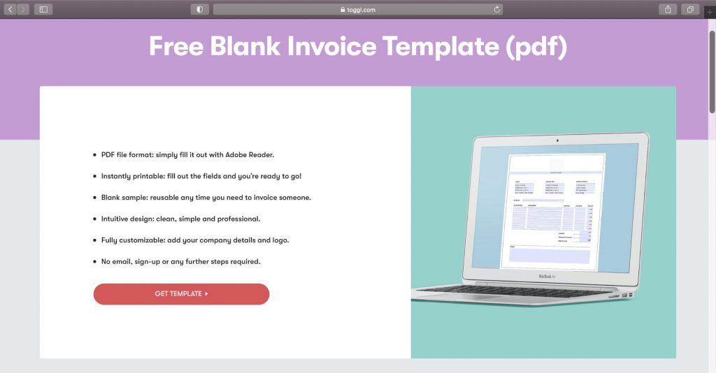 toggl blank invoice template