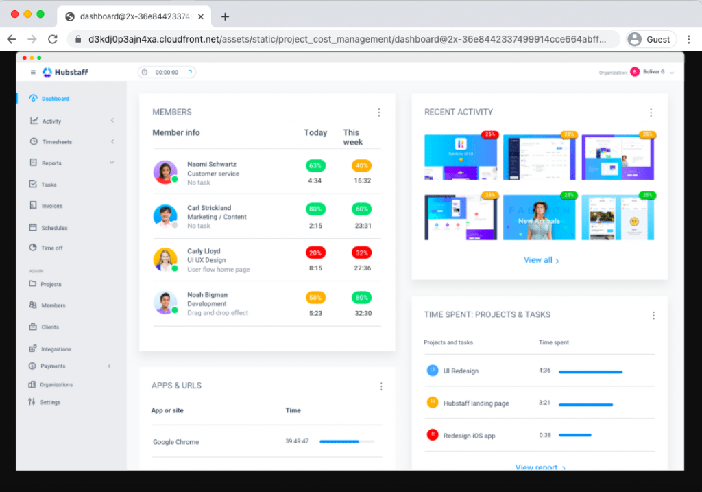 Hubstaff project time tracking