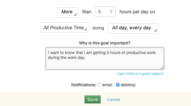 rescuetime goal tracking