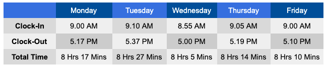 Actual Work Hours