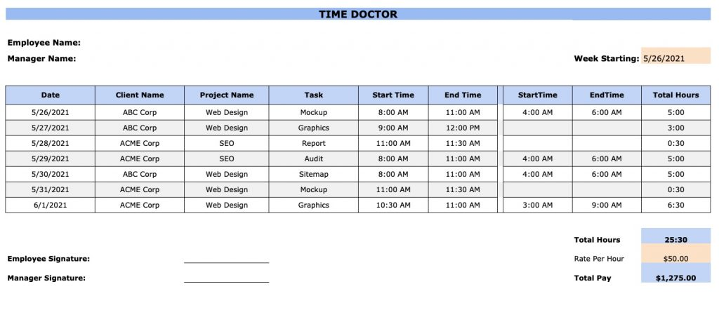 project timesheet template