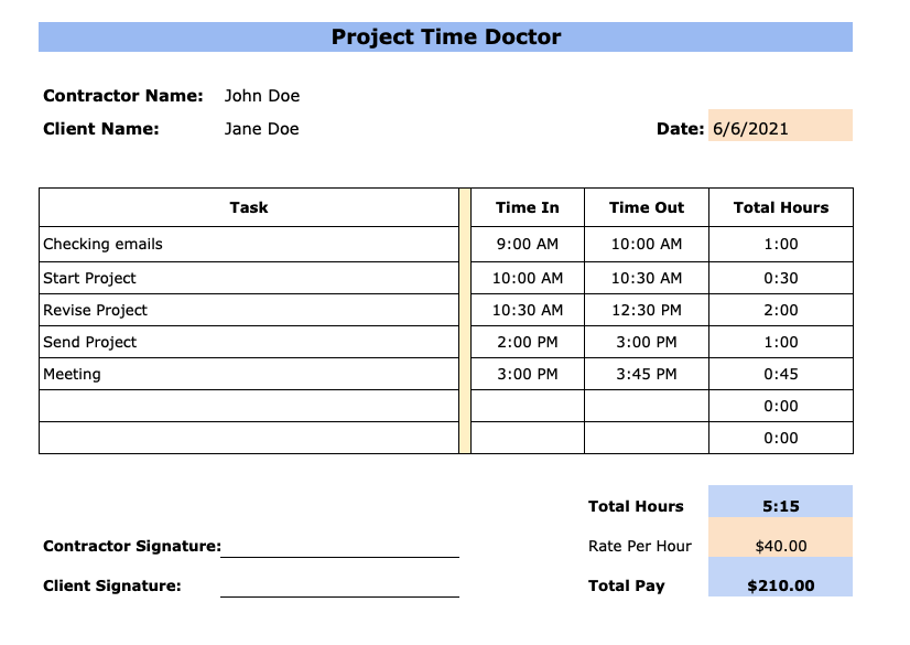 daily contractor timesheet template