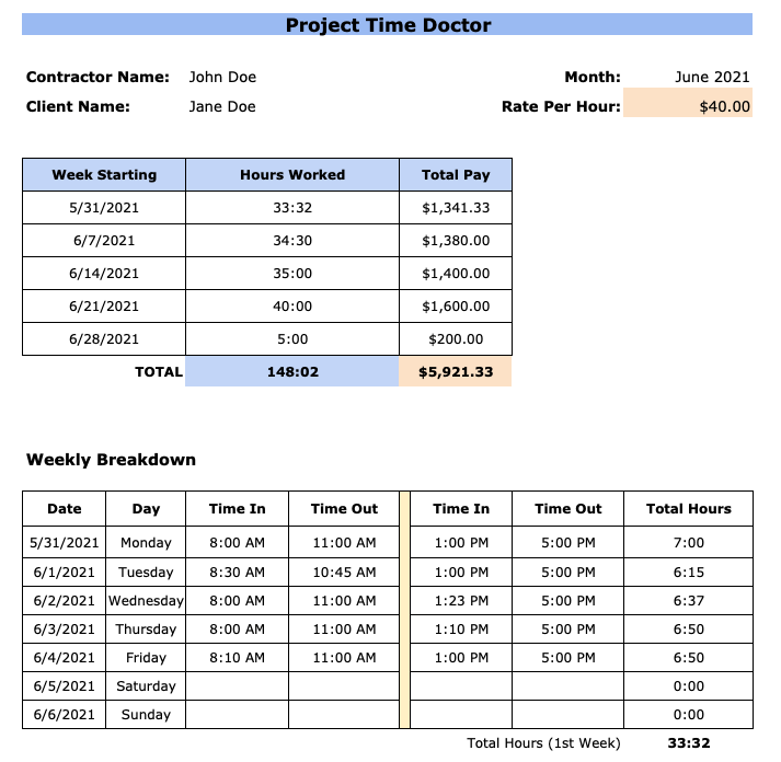monthly contractor timesheet template